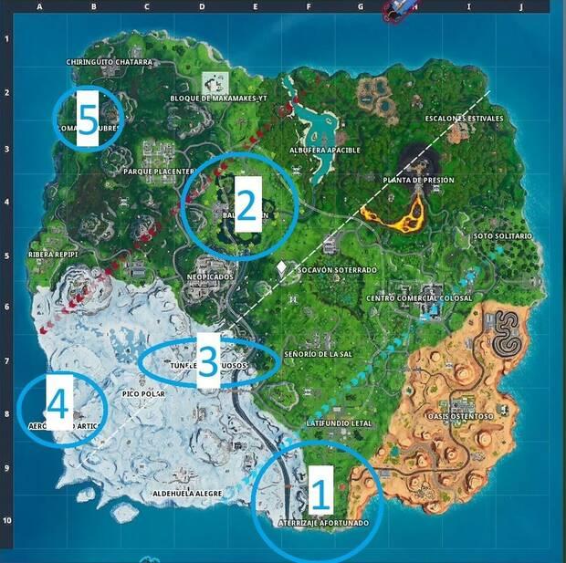 Fortnite Battle Royale, Temporada 9 semana 6: desafío Aterriza en distintos lugares, zonas de aterrizaje