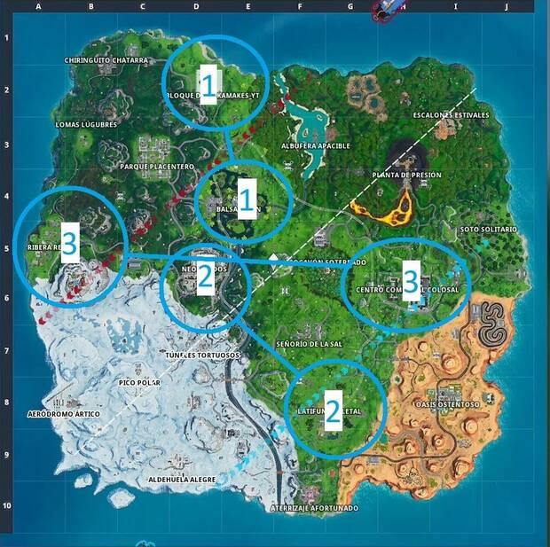 Fortnite Battle Royale - Visita varios lugares en la misma partida: puntos a visitar por fases
