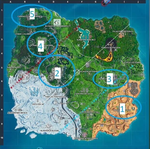 Fortnite Battle Royale - Desafíos semana 8, temporada 9: aterriza en varios lugares