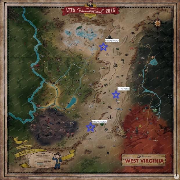 Fallout 76: localización de los silos nucleares