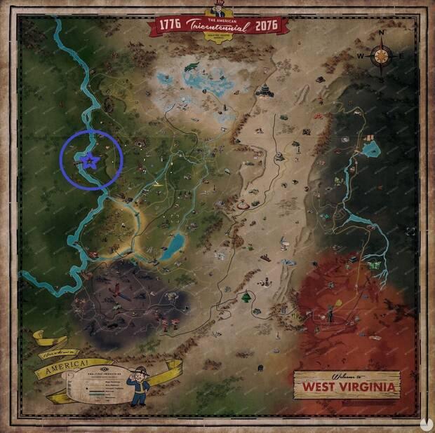 Fallout 76 - Localización del Museo del Hombre Polilla