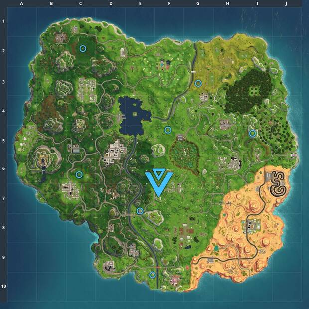 Fortnite Battle Royale, Fornite, Fortnite, Desafíos, Challenges, Temporada 5, Season 5, Semana 6, Week 6, Registra el lugar adonde apuntan las cabezas de piedra, Moais, Estrella secreta