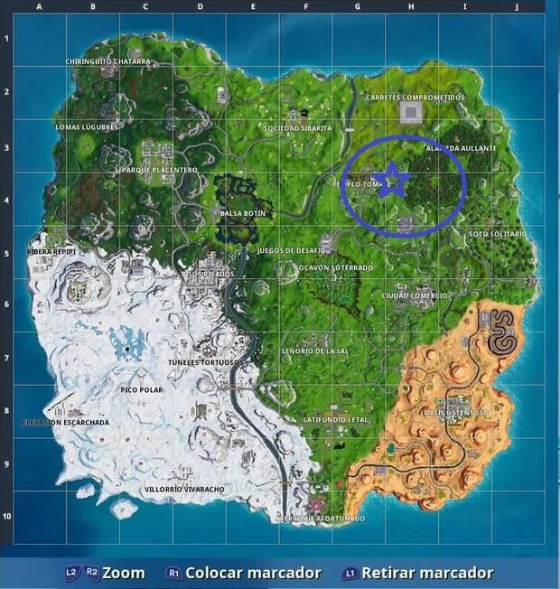 Desafío Fortnite Semana 5 T7: Busca entre un hombre de roca gigante, un tomate con corona y un árbol en un círculo: Localización de la estrella