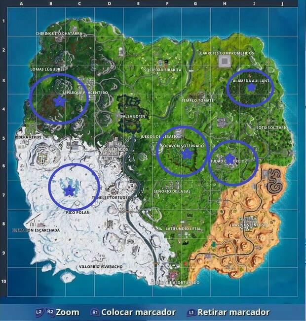 Fortnite - Temporada 7, semana 4: busca letras en varios lugares (mapa)