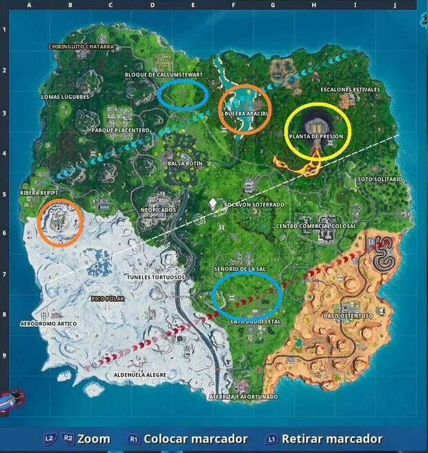 Fortnite - Localización de los puntos de recursos