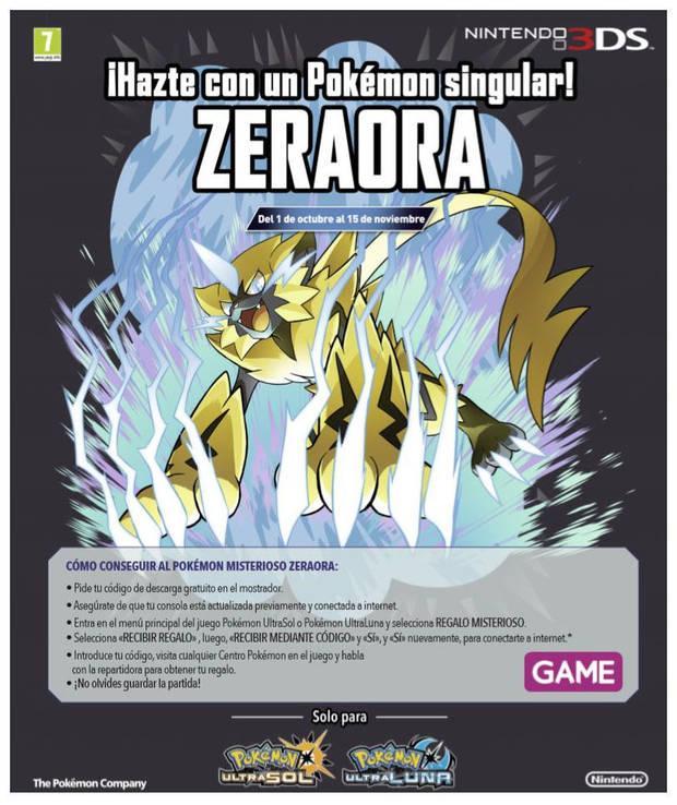 Consigue a Zeraora de Pokémon Ultrasol / Ultraluna en GAME por tiempo limitado Imagen 2