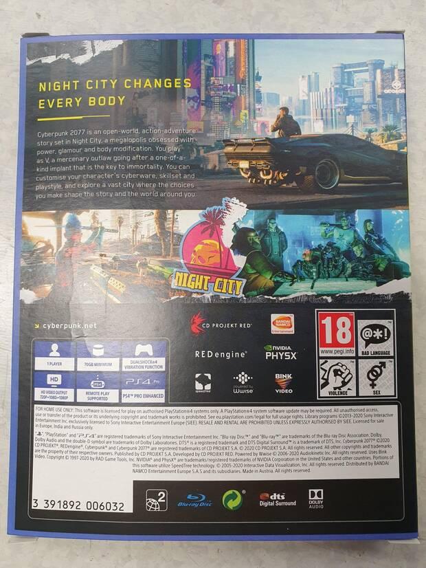 Cyberpunk 2077 caja PS4 70 GB y dos discos