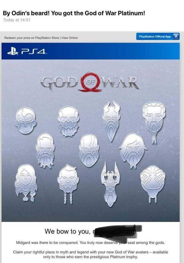 Avatares especiales de PSN para quienes tengan el platino en God of War Imagen 2