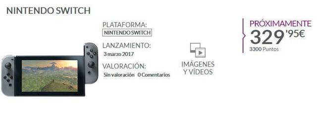 Nintendo Switch costará 329,95 euros en España