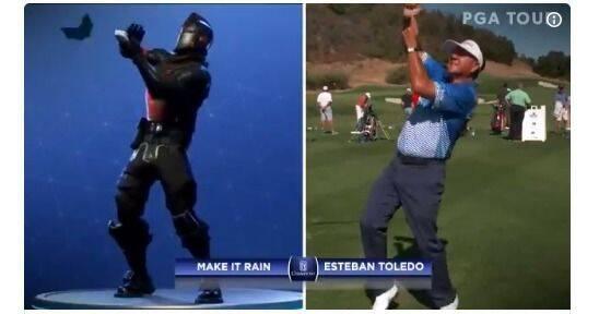 Jugadores de golf profesionales bailan al estilo Fortnite Battle Royale