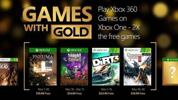 Confirmados los juegos de Games With Gold del mes de noviembre