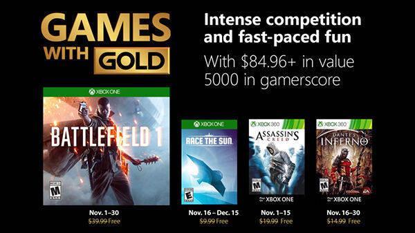 Anunciados los Juegos con Gold de noviembre de 2018