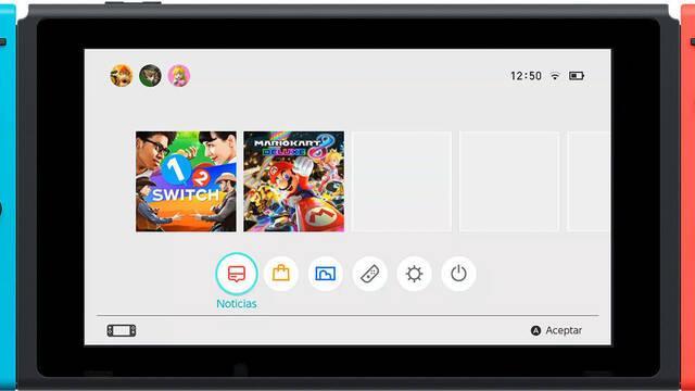 Mostrado el menú principal de Nintendo Switch