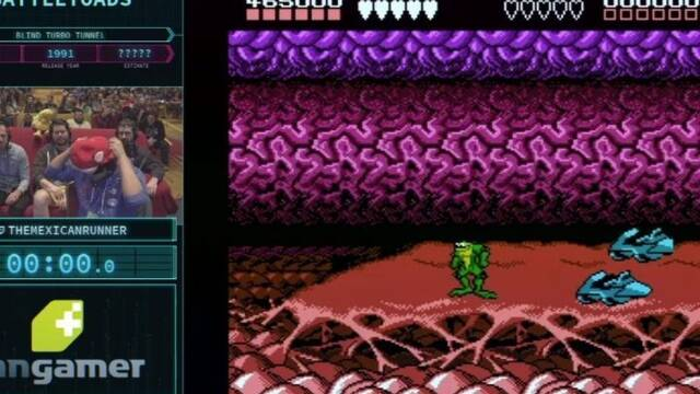 Un speedrunner supera la fase Turbo Tunnel de Battletoads a ciegas