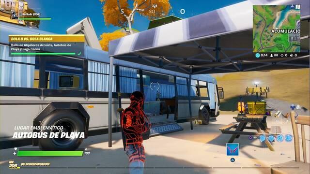 Desafío Fortnite: Baila en Alquileres Arcoiris, Autobús de Playa y Lago Canoa - LOCALIZACIÓN