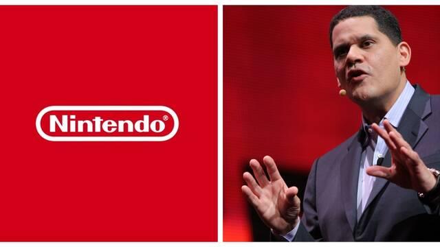 Reggie Fils-Aimé y el logo de Nintendo