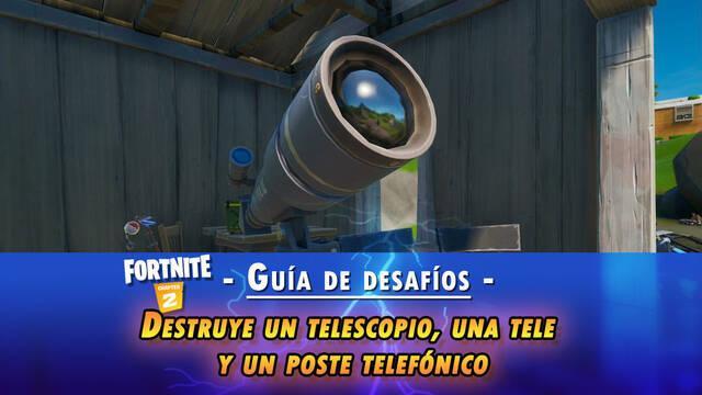 Fortnite: Destruye un telescopio, una televisión y un poste de teléfonos - LOCALIZACIÓN