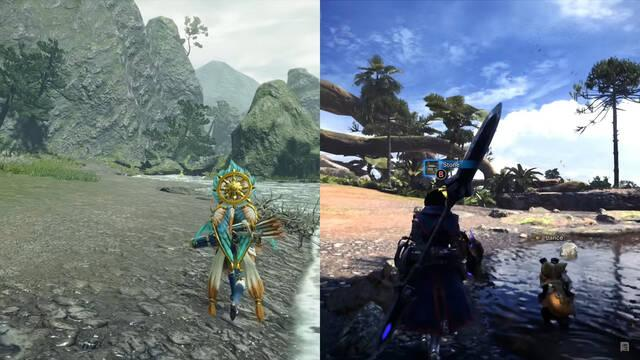 Monster Hunter rise world switch gráficos comparativa
