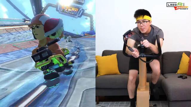 Jugando a Mario Kart y Super Smash Bros. con una bicicleta estática