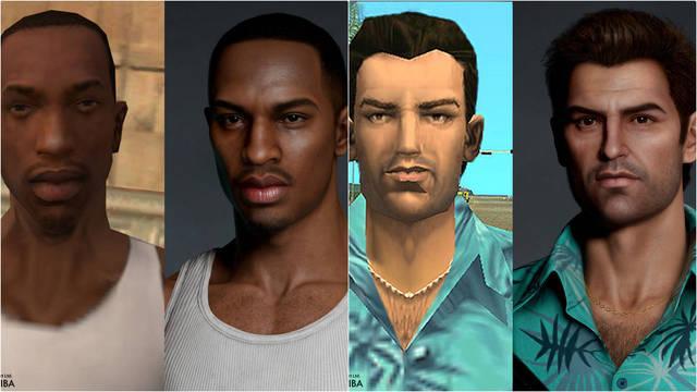 GTA protagonistas fotorrealistas modelado 3d