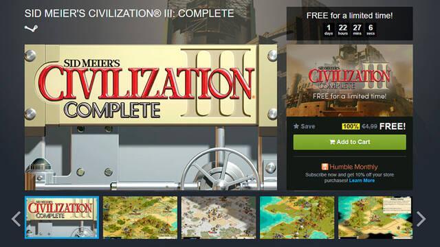 Civilization III: Complete es gratuito en Humble Store por tiempo limitado
