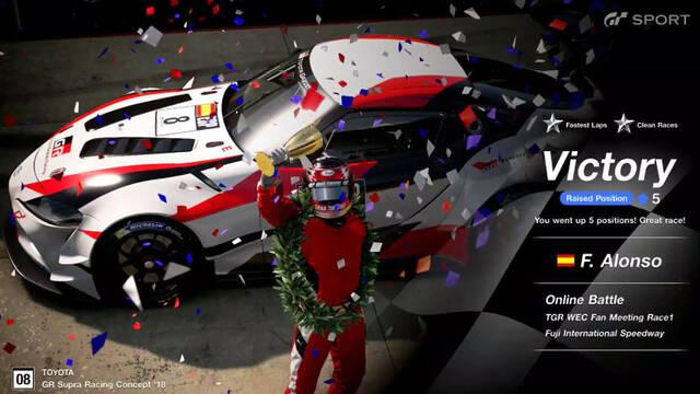 Fernando Alonso consigue su primer doblete de eSports en GT Sport