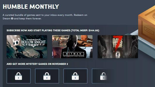 El Humble Monthly de noviembre incluye Hitman, Hollow Knight y 7 Days To Die