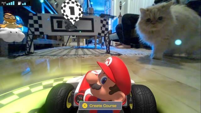 Los gatos atacan a los coches de Mario Kart Live: Home Circuit.
