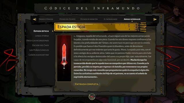 Espada Estigiana en Hades: mejoras de Dédalo y aspectos