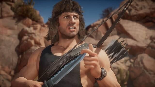 Jugabilidad de Rambo en Mortal Kombat 11.