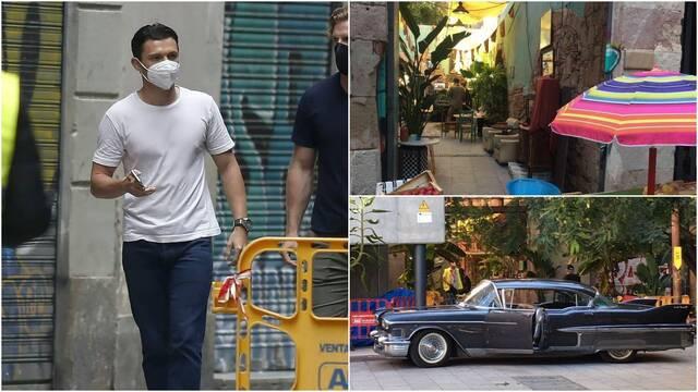 Fotos del rodaje de la película de Uncharted en el centro de Barcelona.