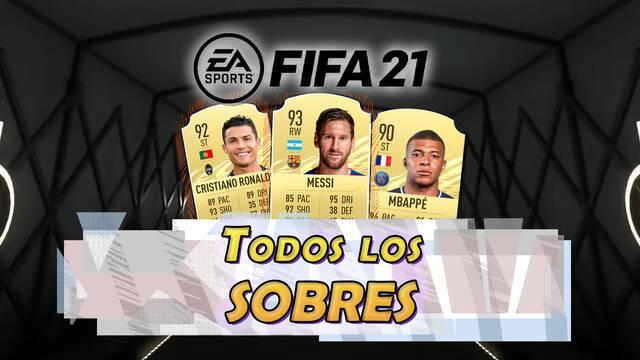 FIFA 21: TODOS los sobres, recompensas y probabilidades y precios