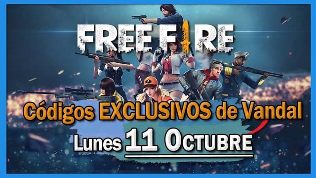 Códigos Free Fire exclusivos de Vandal para el 11 de octubre