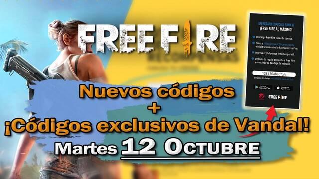 Free Fire: portada de códigos de recompensa 12 octubre de 2021