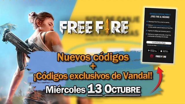 Free Fire: Códigos miércoles 13 de octubre de 2021