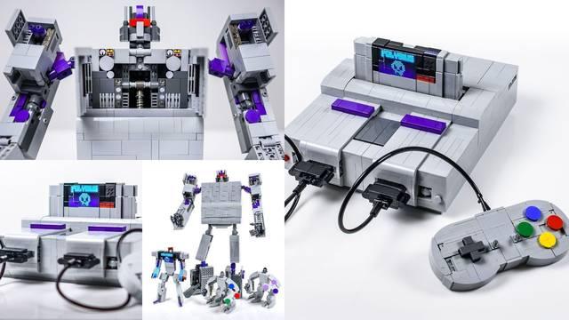 Réplica de SNES con piezas LEGO que se transforma en robot.