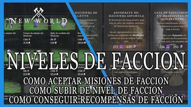 New World: misiones de facción, nivel y recompensas de facción