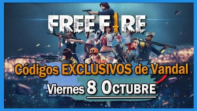 Códigos Free Fire exclusivos de Vandal - 8 de octubre