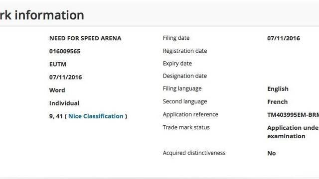 EA registra el título 'Need for Speed Arena' en Estados Unidos y Europa