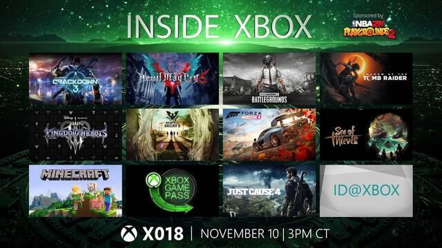 Sigue aquí en directo el Inside Xbox X018 a partir de las 22:00