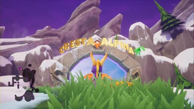 Cresta alpina en Spyro 1 - Estatuas de dragón y secretos