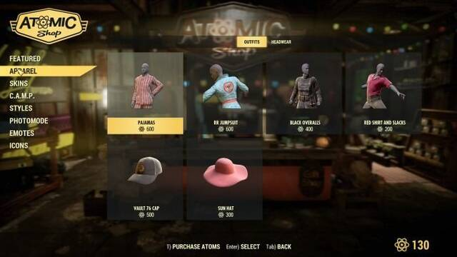 Estos son los artículos que podremos comprar con los Átomos de Fallout 76