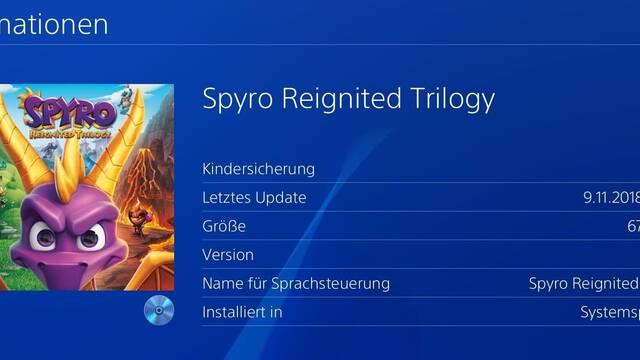 Spyro Reignited Trilogy ocupa 67,48 GB en PlayStation 4