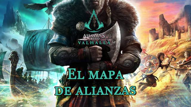 El mapa de alianzas al 100% en Assassin's Creed Valhalla
