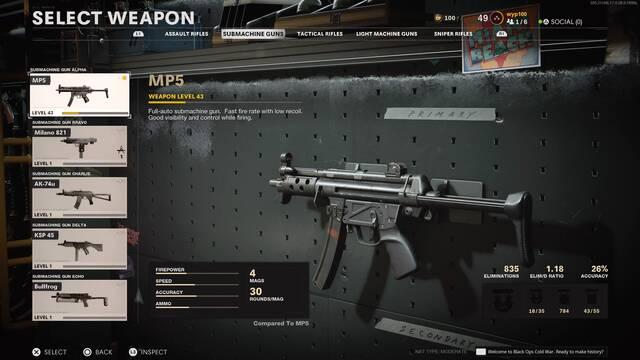MP5 debilitada en COD: Black Ops Cold War