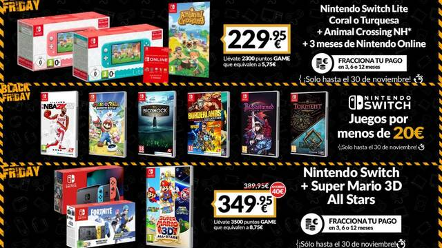 Ofertas en Nintendo Switch durante el Black Friday de GAME.