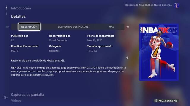 NBA 2K21 en Xbox Series X pesa 121 GB: Desvelado el gran tamaño de varios juegos