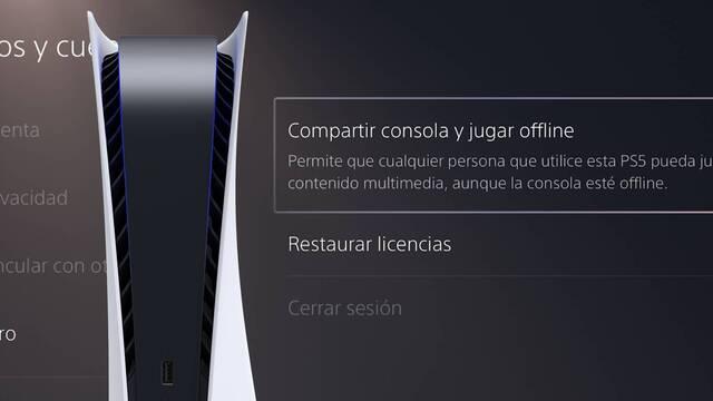 PS5 Compartir consola y jugar offline