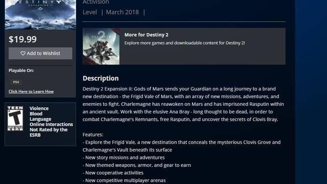La próxima expansión de Destiny 2 llegará en marzo, según una filtración