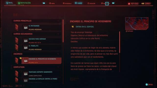 El principio de Heisenberg en Cyberpunk 2077 al 100%